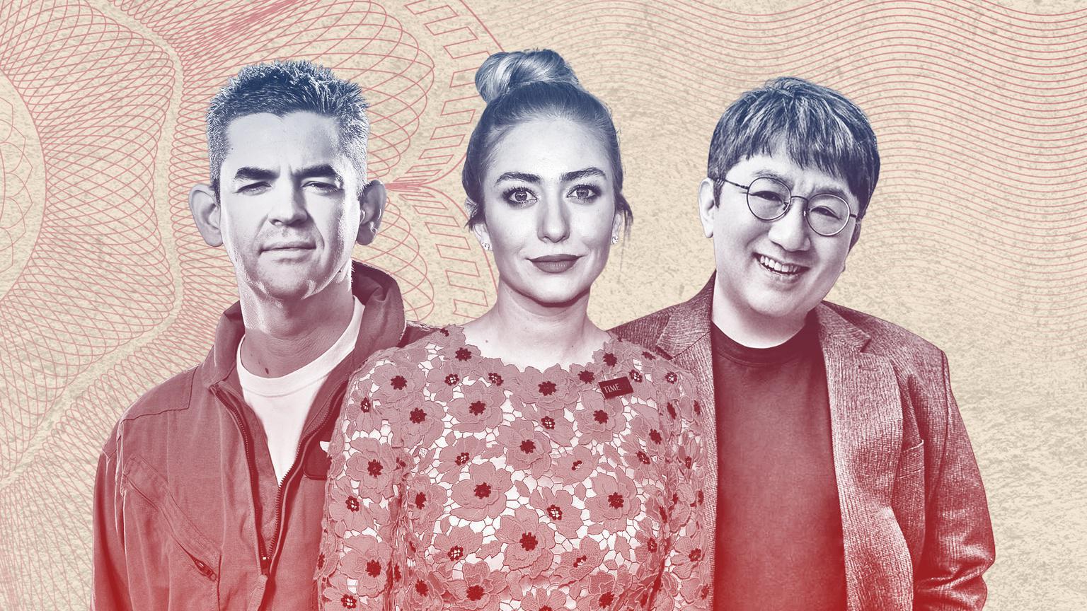 Từ trái sang phải là các tỷ phú: Jared Isaacman, Whitney Wolfe Herd, Bang Shi-hyuk