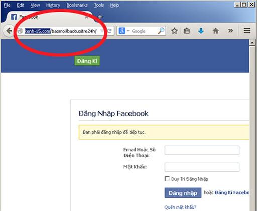 sau khi truy cập vào đường link này, người dùng sẽ được yêu cầu nhập tài khoản facebook. Tuy nhiên đây chỉ là cách thức để hacker lấy thông tin từ người dùng