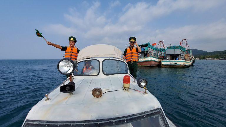 Lực lượng biên phòng Kiên Giang tăng cường tuần tra trên biển, ngăn chặn xuất nhập cảnh trái phép (Ảnh: Hoàng Trung)