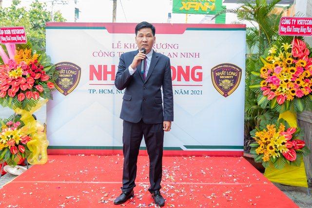 Ông Trương Quang Khải – Giám đốc Điều hành An ninh Nhất Long chia sẻ tại lễ khai trương