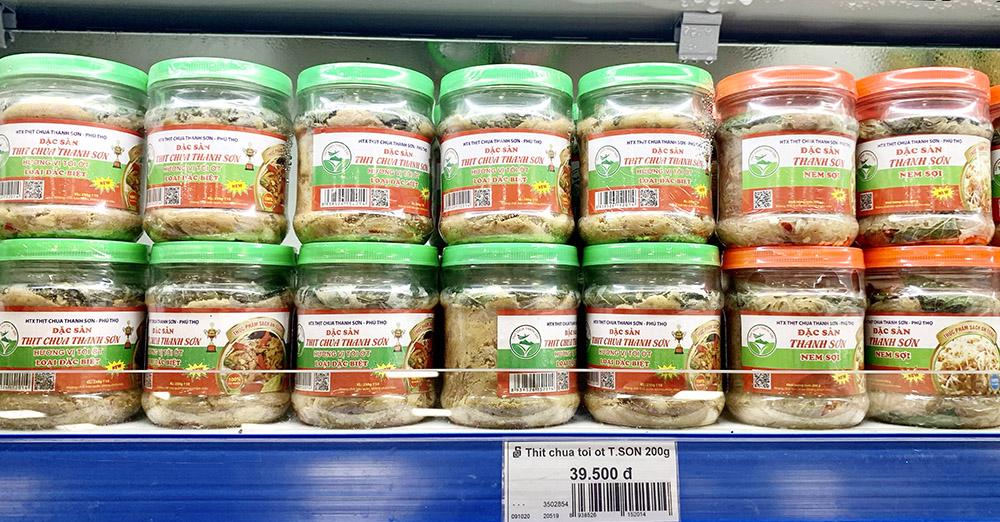 Thịt chua Thanh Sơn có mặt tại siêu thị Thành công. Một đặc sản vùng miền của Phú Thọ