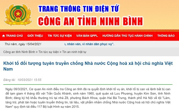 Thông tin về việc khởi tố đối tượng Trần Quốc Khánh