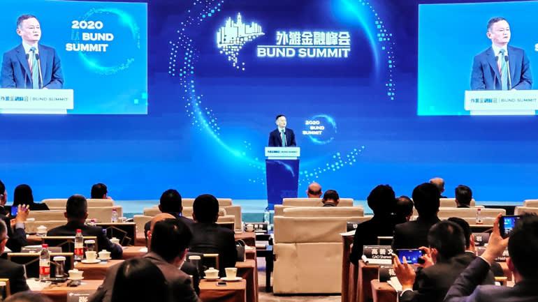 Jack Ma có bài phát biểu tại Thượng Hải vào tháng 10, nói rằng các quy định tài chính cũ của đất nước là lực cản đối với sự đổi mới công nghệ. © AP