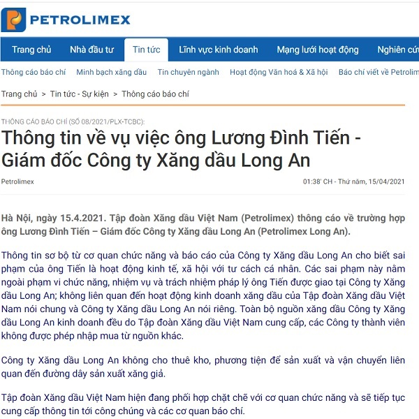 Thông cáo báo chí của Tập đoàn Xăng dầu Việt Nam (Petrolimex)