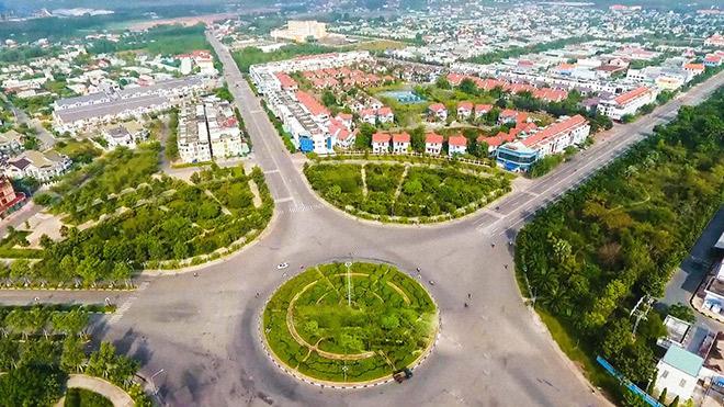 Một góc của thị xã Bến Cát nhìn từ trên cao. Nguồn ảnh: Internet