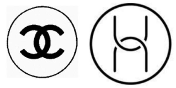 Trái: Biểu tượng quen thuộc của Channel. Phía bên phải : Huawei