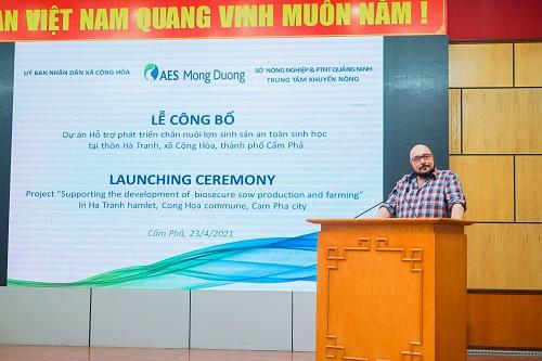 Ông Johnny Tanis – Giám đốc Nhà máy Nhiệt điện Mông Dương 2 phát biểu tại buổi lễ.