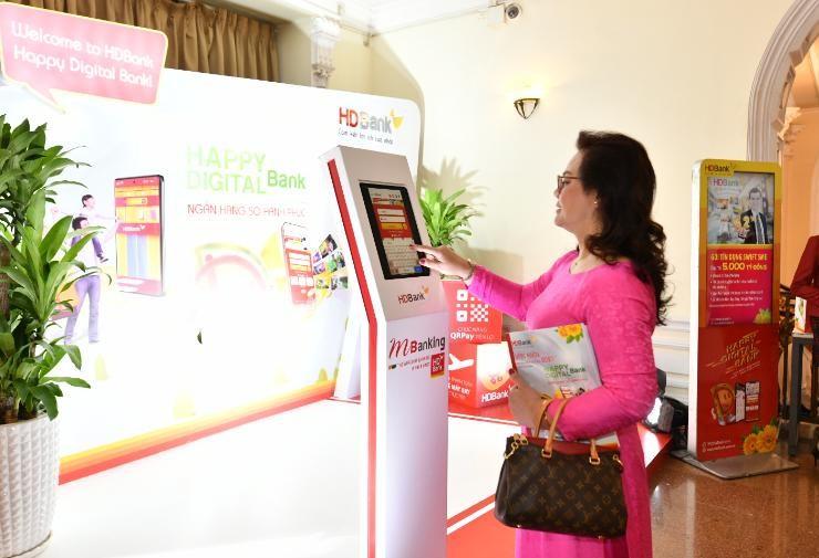 Khu photobooth trải nghiệm dịch vụ Digital Bank tại Đại hội
