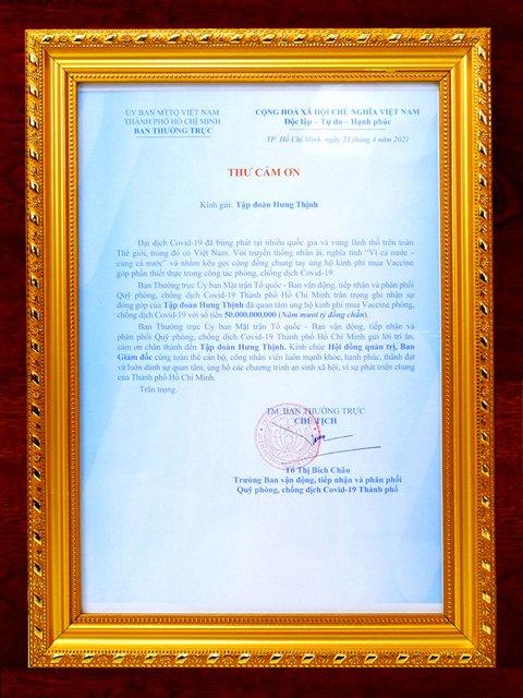 Thư cảm ơn của Ủy ban Mặt trận Tổ quốc Việt Nam TP.HCM gửi đến Tập đoàn Hưng Thịnh