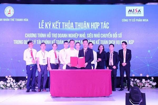 Công ty CP MISA đã ký kết gói tài trợ dịch vụ chuyển đổi số cho Hội doanh nghiệp trẻ Thanh Hóa