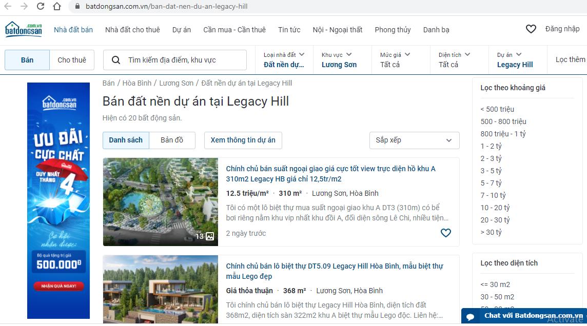 Hòa Bình cảnh báo dự án Legacy Hill Hòa Bình không đủ điều kiện mở bán, huy động vốn