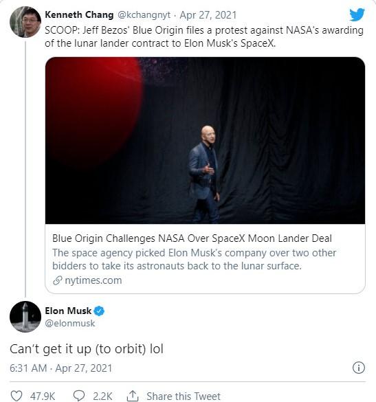 Dòng tweet của tỷ phú Elon Musk
