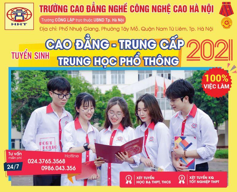 Trường Cao đẳng nghề Công nghệ cao Hà Nội là trường công lập chất lượng cao, đạt chuẩn quốc tế, trực thuộc UBND Thành phố Hà Nội. Nhà trường cam kết: sinh viên tốt nghiệp đạt chuẩn đầu ra; 100% có việc làm với mức thu nhập từ 6 – 20 triệu đồng/tháng