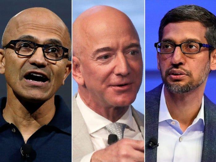 CEO của ba gã khổng lồ đám mây, Satya Nadella của Microsoft, Jeff Bezos của Amazon và Sundar Pichai của Google, đều báo cáo thu nhập khủng trong tuần này, nhờ động lực của đám mây. Lucas Jackson / Reuters, Charles Krupa / Ảnh AP, Denis Balibouse / Reuters