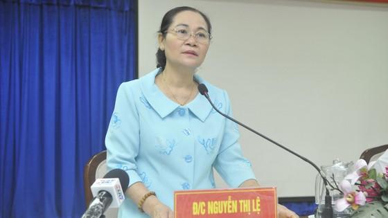Chủ tịch HĐND TPHCM Nguyễn Thị Lệ phát biểu chỉ đạo trong buổi kiểm tra tại UBND TP Thủ Đức về công tác chuẩn bị bầu cử.