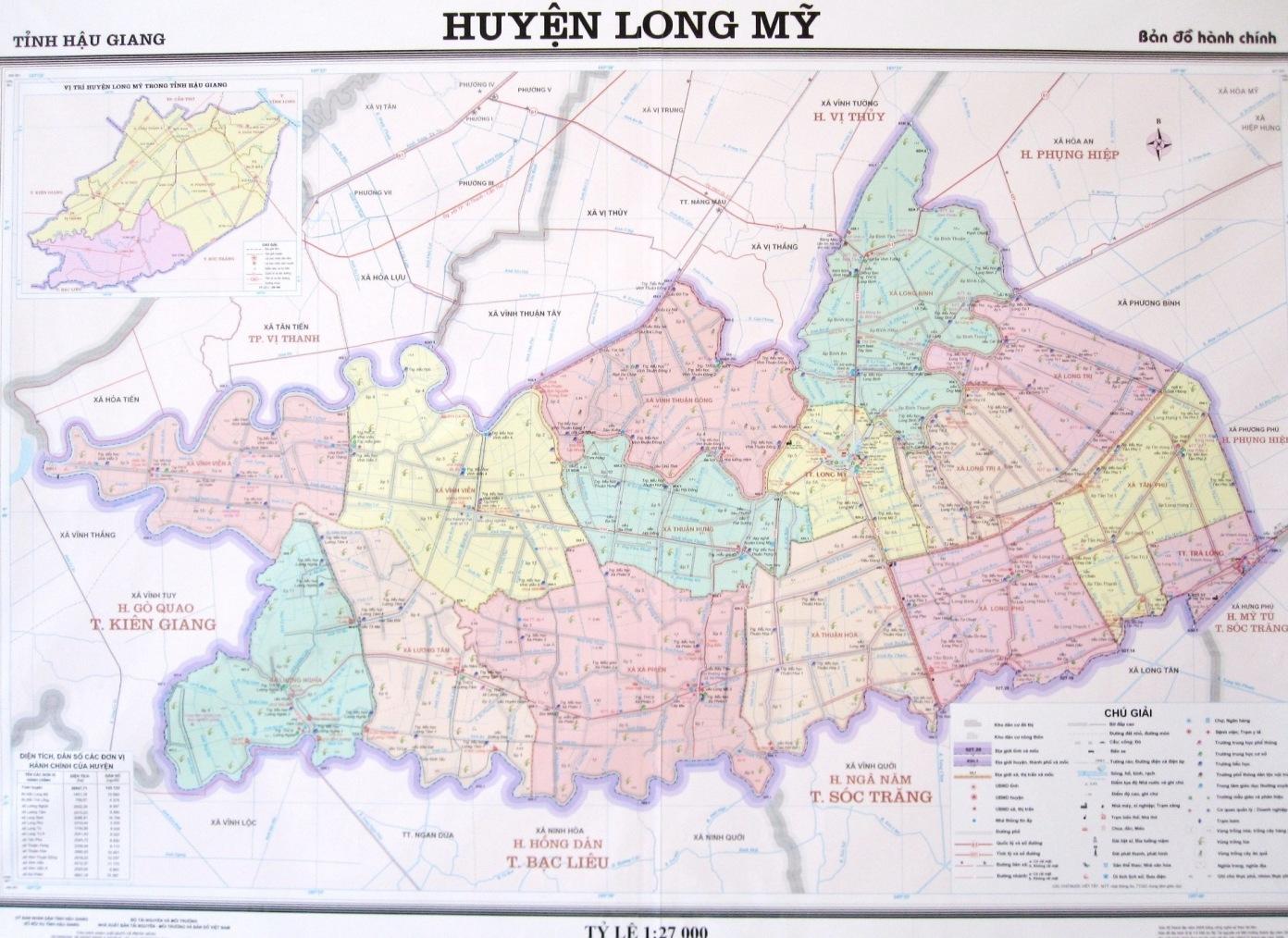 Bản đồ huyện Long Mỹ, tỉnh Hậu Giang/ Ảnh internet