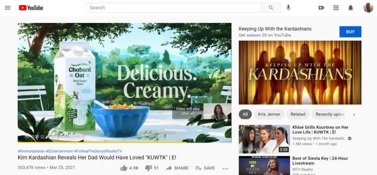 Quảng cáo đầu video Chobani Oat trên YouTube