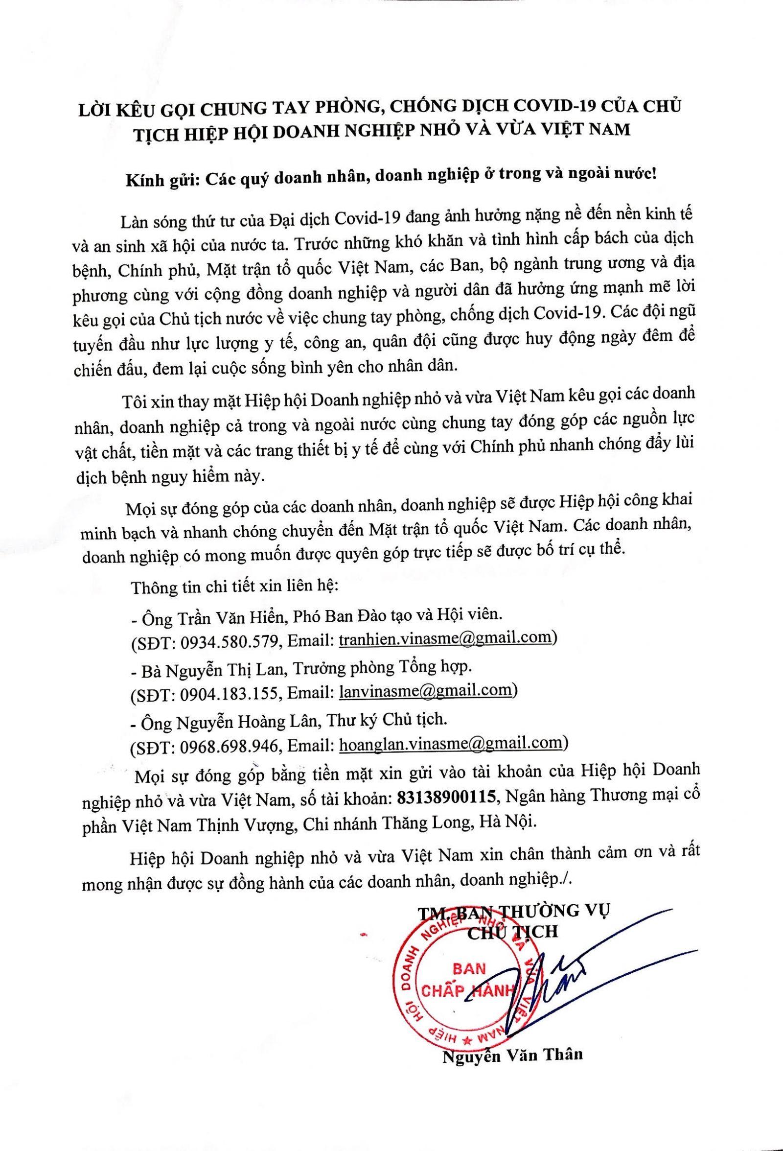 Lời kêu gọi chung tay phòng, chống dịch covid-19 của Chủ tịch Hiệp hội Doanh nghiệp nhỏ và vừa Việt Nam