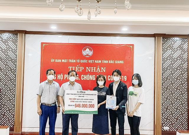 Ngũ cốc Beone ủng hộ các phần quà tới các y, bác sĩ tuyến đầu tỉnh Bắc Giang đang chống dịch
