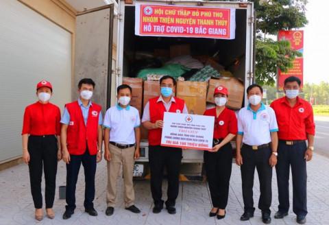 Nhóm thiện nguyện huyện Thanh Thủy (Phú Thọ) vận động hỗ trợ tỉnh Bắc Giang với lượng hàng hóa trị giá 100 triệu đồng