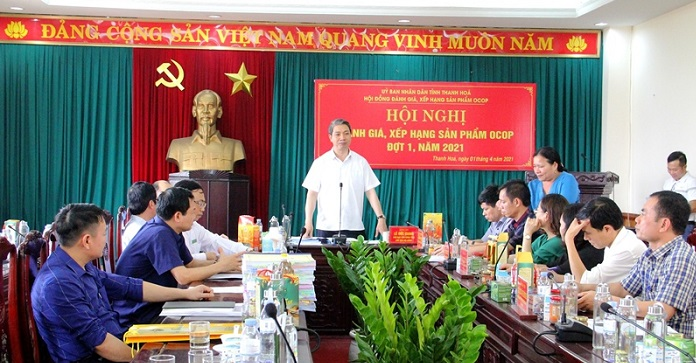 Đồng chí Lê Đức Giang, Phó Chủ tịch UBND tỉnh chủ trì hội nghị Đánh giá, xếp hạng sản phẩm OCOP đợt I năm 2021.