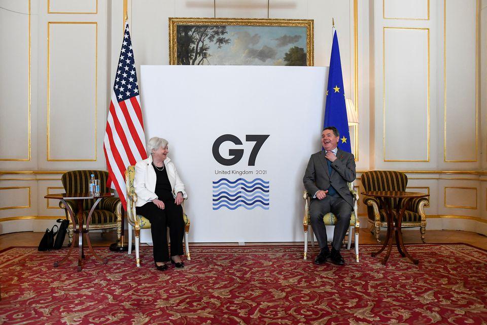 Bộ trưởng Tài chính Hoa Kỳ, Janet Yellen và Chủ tịch Eurogroup Paschal Donohoe