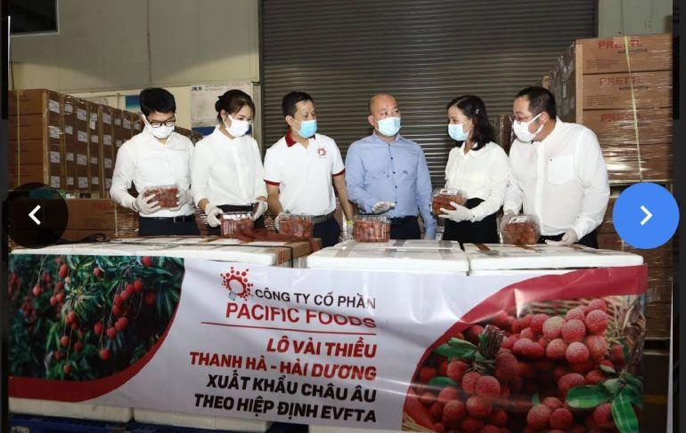 Lô vải thiều Việt Nam đầu tiên xuất khẩu theo hiệp định EVFTA