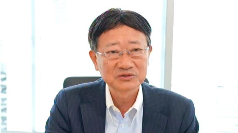 Terushi Shimizu, chủ tịch kiêm giám đốc điều hành của Sony Semiconductor Solutions, phát biểu tại một cuộc họp báo vào ngày 3 tháng 6. (Ảnh của Masaharu Ban)
