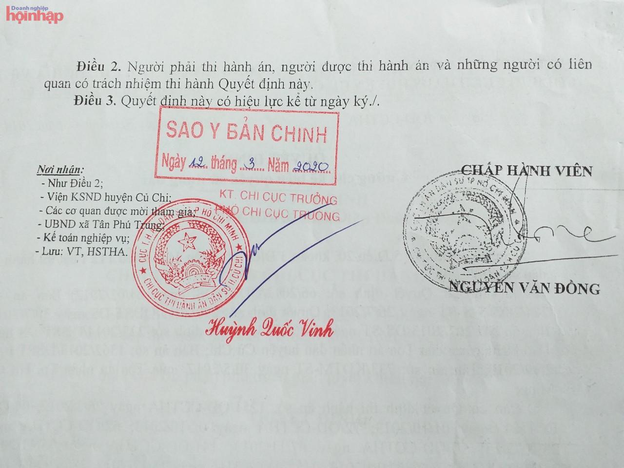 Quyết định cưỡng chế kê biên số 36/QĐ-CCTHA ngày 29/12/2014 của Chấp hành viên Chi cục Thi hành án Dân sự huyện Củ Chi
