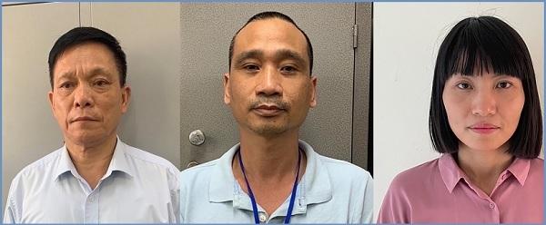 Các bị can từ trái qua phải: Nguyễn Quang Ngữ, Phạm Thế Tài và Nguyễn Thị Tươi