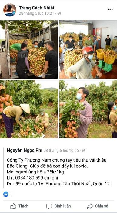 Bài đăng và share bán vải thiều Bắc Giang của nhân viên công ty trên trang facebook