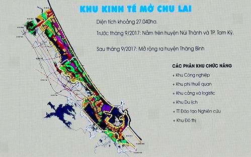 Theo quyết định điều chỉnh, Khu kinh tế mở Chu Lai có diện tích hơn 27 nghìn ha, Phía Đông giáp Biển Đông, phía Tây giáp đường cao tốc Đà Nẵng – Quảng Ngãi, phía Nam giáp huyện Bình Sơn, tỉnh Quảng Ngãi và phía Bắc giáp đường nối quốc lộ 1A với đường ven biển 129. (Võ Chí Công)