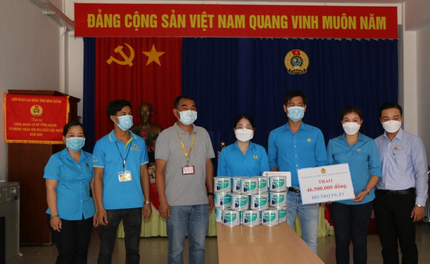 Các phần quà được gửi cho công nhân Công ty TNHH Fuku Việt Nam tại khu cách ly tập trung