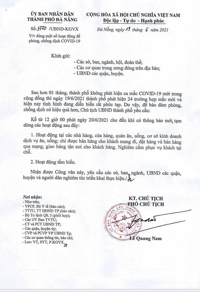 Công văn mới của thành phố Đà Nẵng về tăng cường phòng chống dịch bệnh.