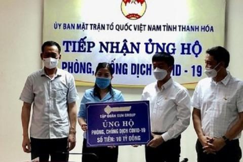 Thanh Hoá: Tiếp nhận 10 tỷ đồng vào quỹ phòng, chống CoVid- 19 từ tập đoàn Sun Group