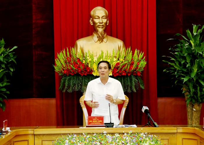 Ông Bùi Minh Châu- Bí thư tỉnh ủy Phú Thọ phát biểu tại hội nghị