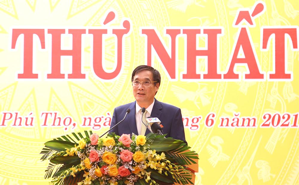 Ông Bùi Minh Châu- Bí thư tỉnh ủy Phú Thọ phát biểu khai mạc kỳ họ