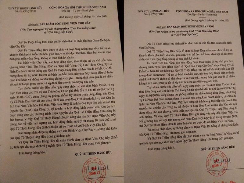 Công văn Quỹ Hằng Hữu gửi đến Bệnh viện Chợ Rẫy và Bệnh viện Đà Nẵng