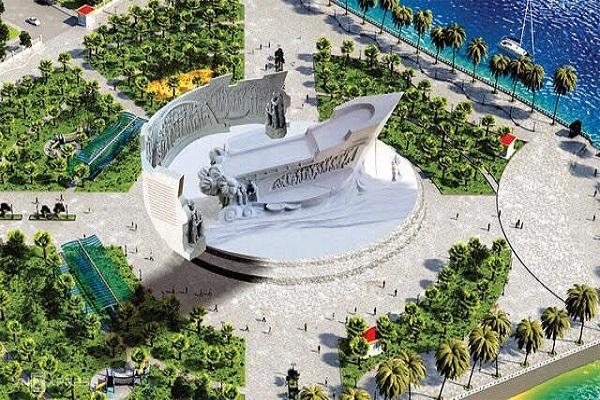 Phối cảnh tổng thể tượng đài con tàu tập kết.