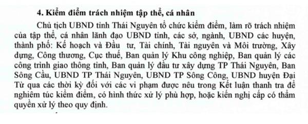 Tổng Thanh tra Chính phủ kiến nghị Thủ tướng chỉ đạo UBND tỉnh Thái Nguyên kiểm điểm trách nhiệm tập thể, cá nhân liên quan