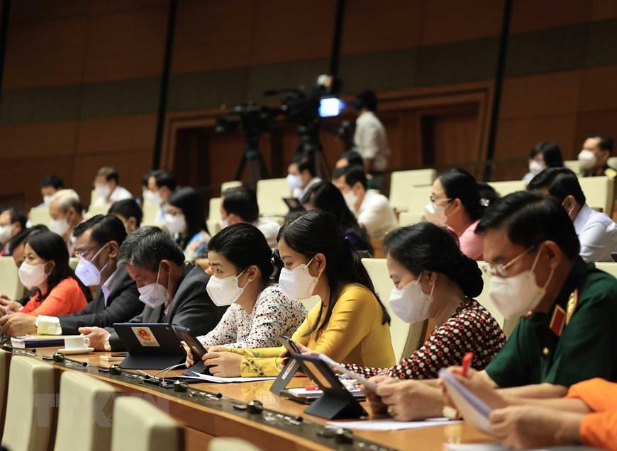 Sáng 22/7/2021, Quốc hội họp phiên toàn thể tại hội trường để nghe trình bày Báo cáo về đánh giá kết quả thực hiện kế hoạch phát triển kinh tế-xã hội, ngân sách nhà nước 6 tháng đầu năm và các giải pháp thực hiện kế hoạch phát triển kinh tế-xã hội, ngân sách nhà nước 6 tháng cuối năm 2021. (Ảnh: Thống Nhất/TTXVN)