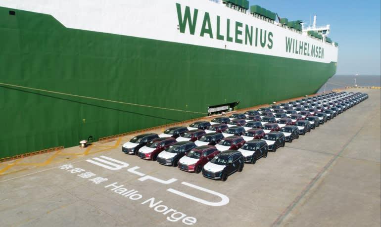 BYD đã xuất xưởng 100 chiếc SUV dẫn động 4 bánh toàn phần bằng điện Tang từ Thượng Hải vào tháng 6, đến Na Uy. (Ảnh do BYD cung cấp)