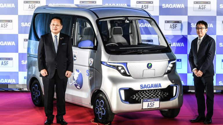 Chuyển phát nhanh Sagawa Express đã công bố một mẫu xe điện mini vào tháng 4 tại Tokyo. Công ty đã chuyển sang một nhà sản xuất Trung Quốc để sản xuất xe tải giao hàng. (Ảnh của Kosuke Imamura)