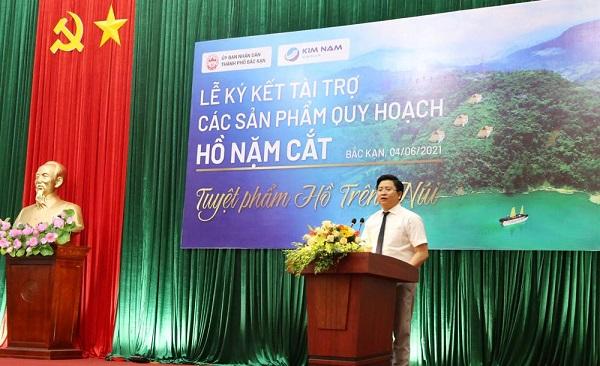Ông Nguyễn Kim Hùng- Chủ tịch Tập đoàn Kim Nam phát biểu tại kết tại buổi lễ