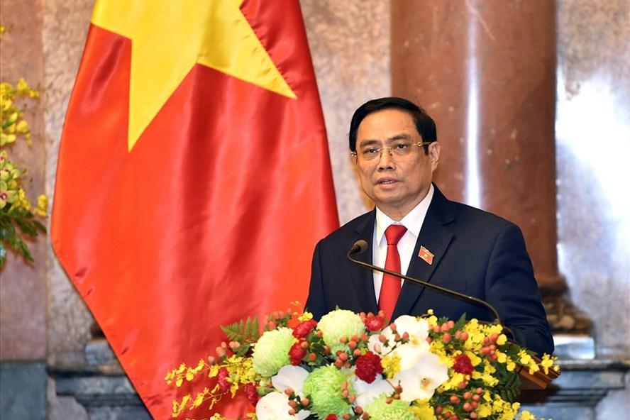 Thủ tướng Chính phủ Phạm Minh Chính phát biểu tại Lễ công bố thành viên Chính phủ nhiệm kỳ Quốc hội khóa XV, chiều ngày 28.7. Ảnh: VGP/Nhật Bắc