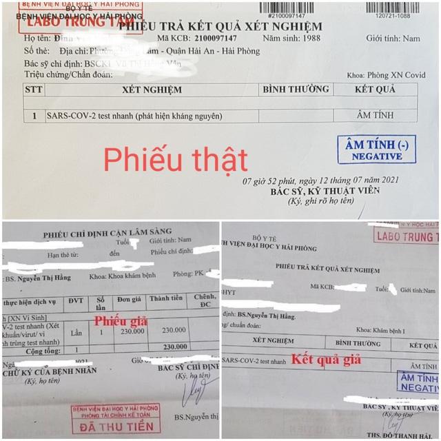 Kết quả xét nghiệm thật của Bệnh viện Đại học Y Hải Phòng (phía trên) và kết quả xét nghiệm giả mạo Bệnh viện Đại học Y Hải Phòng (phía dưới). Ảnh: TTXVN