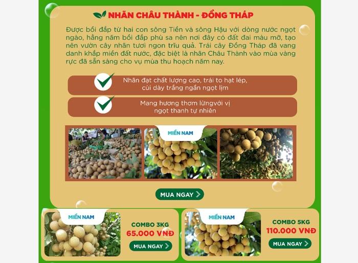 Nhãn Châu Thành trên sàn thương mại điện tử Voso.vn (Ảnh: Nguyệt Ánh)