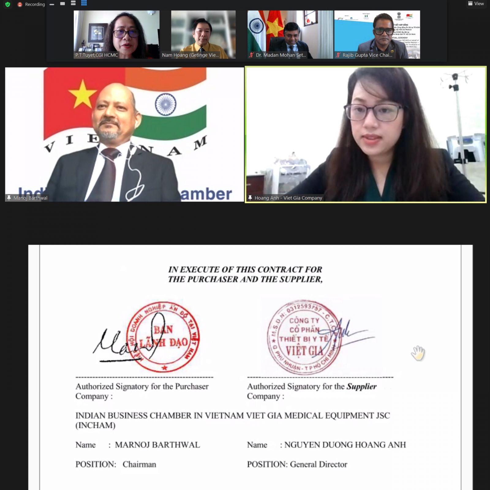 Lễ ký kết trực tuyến giữa Hội Doanh Nghiệp Ấn Độ tại Việt Nam và Công ty Cổ phần Thiết bị Y tế Việt Gia
