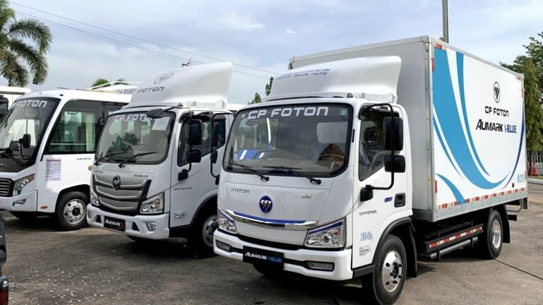 Xe tải điện Foton Motor được bán tại Thái Lan với Tập đoàn CP. Giá cả cạnh tranh mang lại cho các nhà sản xuất xe tải Trung Quốc một lợi thế lớn. (Ảnh của Marimi Kishimoto)