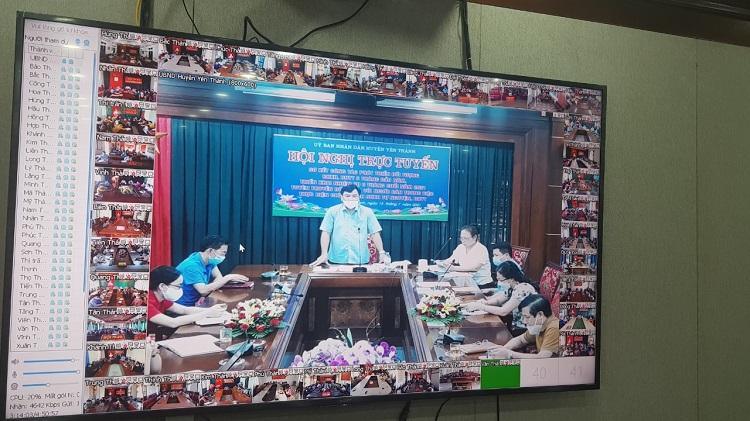 Hội nghị trực tuyến tuyên truyền, đối thoại chính sách BHXH, BHYT của huyện Yên Thành với người dân (nguồn: BHXH huyện Yên Thành)
